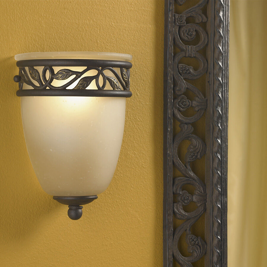 Hardwired Wall Light Fixture : 1 Light Pocket Leaf Wall Sconce Tannery Bronze Gold Hardwired Lighting Fixture eBay
