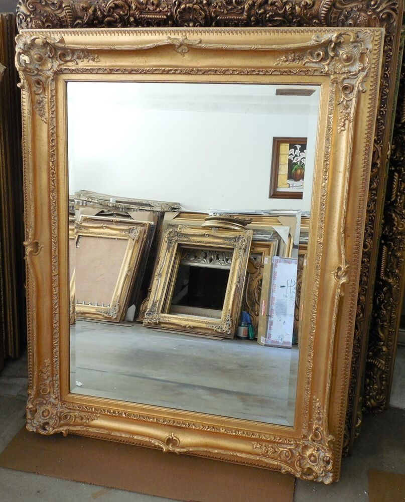 Large wood resin 35x47 rectangle beveled framed wall for Large wall mirror wood frame