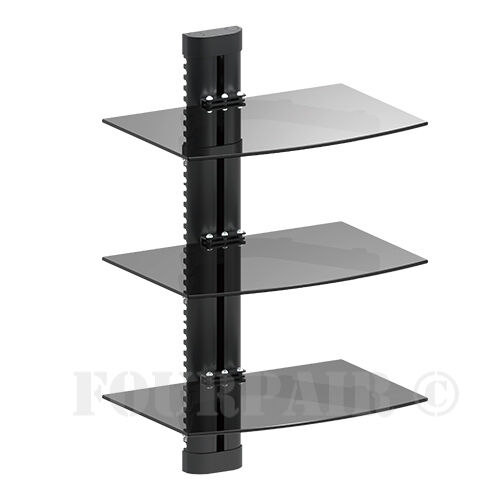 3 shelves triple glass shelf wall mount bracket under tv. Black Bedroom Furniture Sets. Home Design Ideas