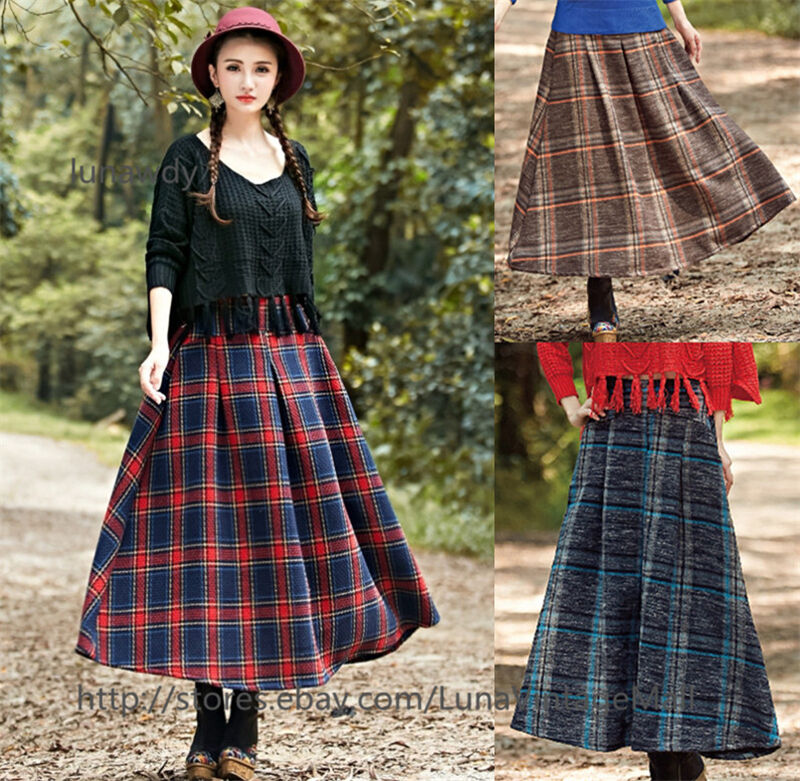 Womens Vintage Plaid Pleated Long Skirts Autunm Winter