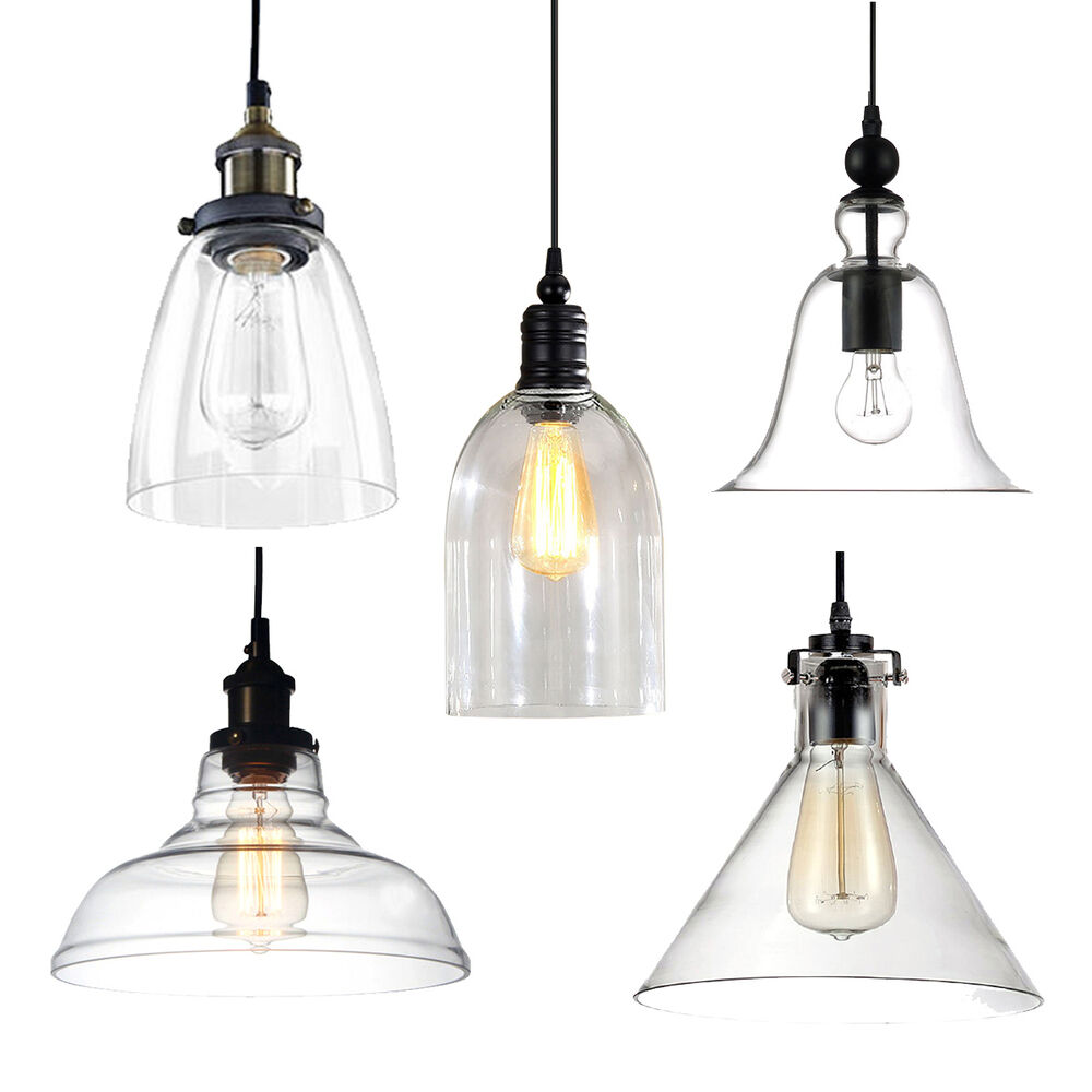 Industrial modern diy ceiling lamp light glass pendant for Industrial bulb pendant