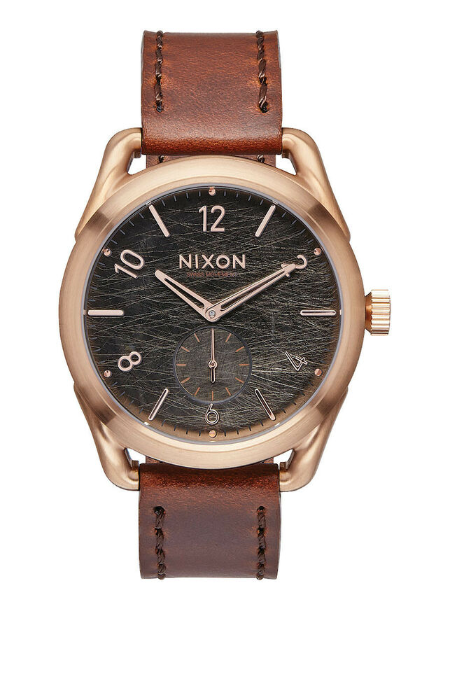 New Nixon C39 Rose Tone Brown Leather Strap Unisex Swiss ...