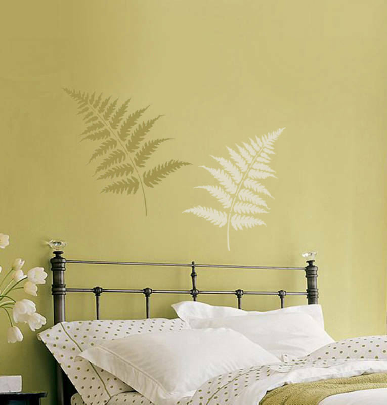 Wall Decor Ideas For Large Walls: Fern Leaves Stencil Kit