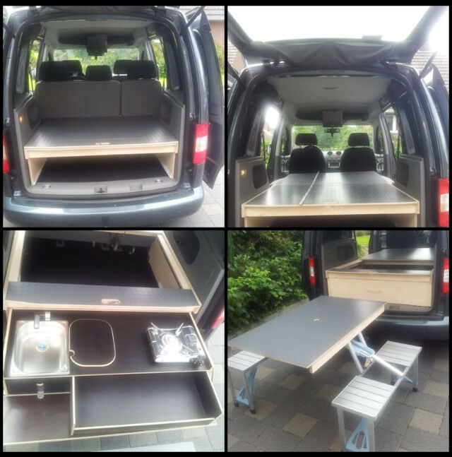 vw caddy camping bett tisch k che ebay. Black Bedroom Furniture Sets. Home Design Ideas