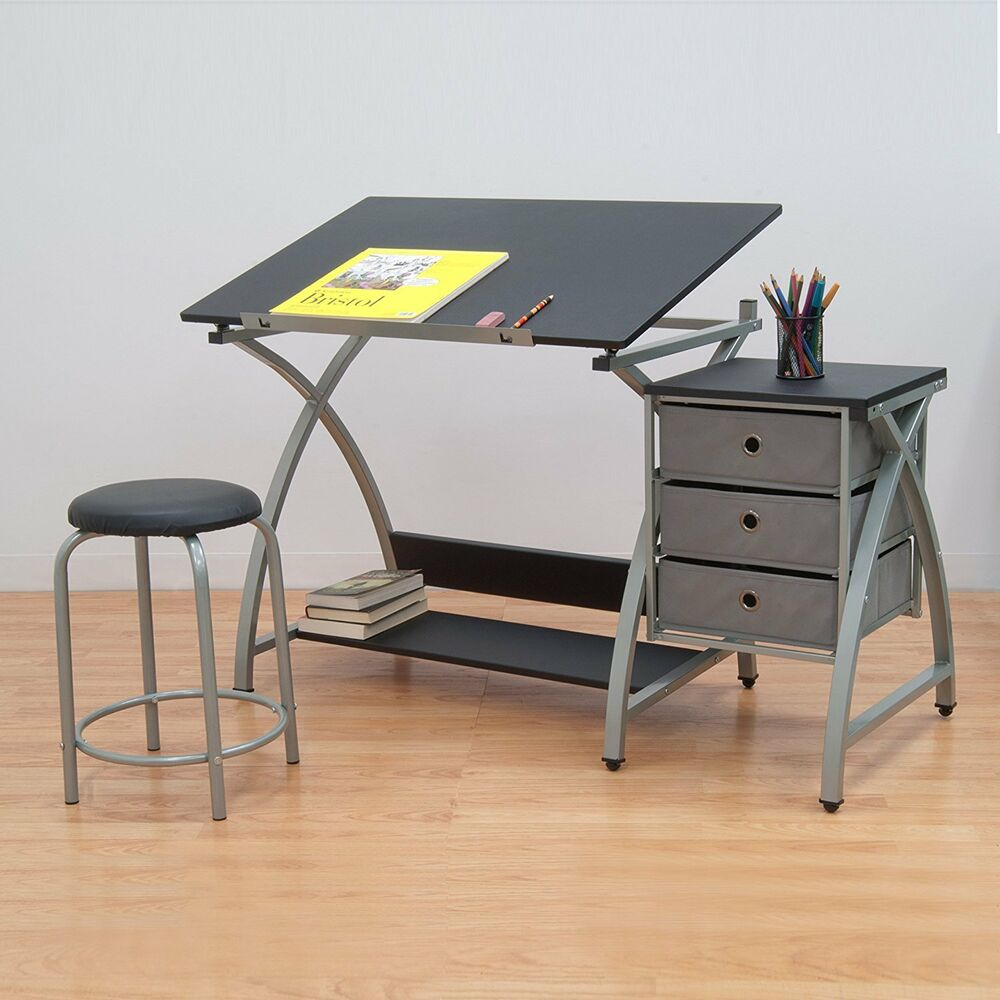 Drafting Table Design Drawing Desk Board Adjustable Storage Art Artist Architect Ebay