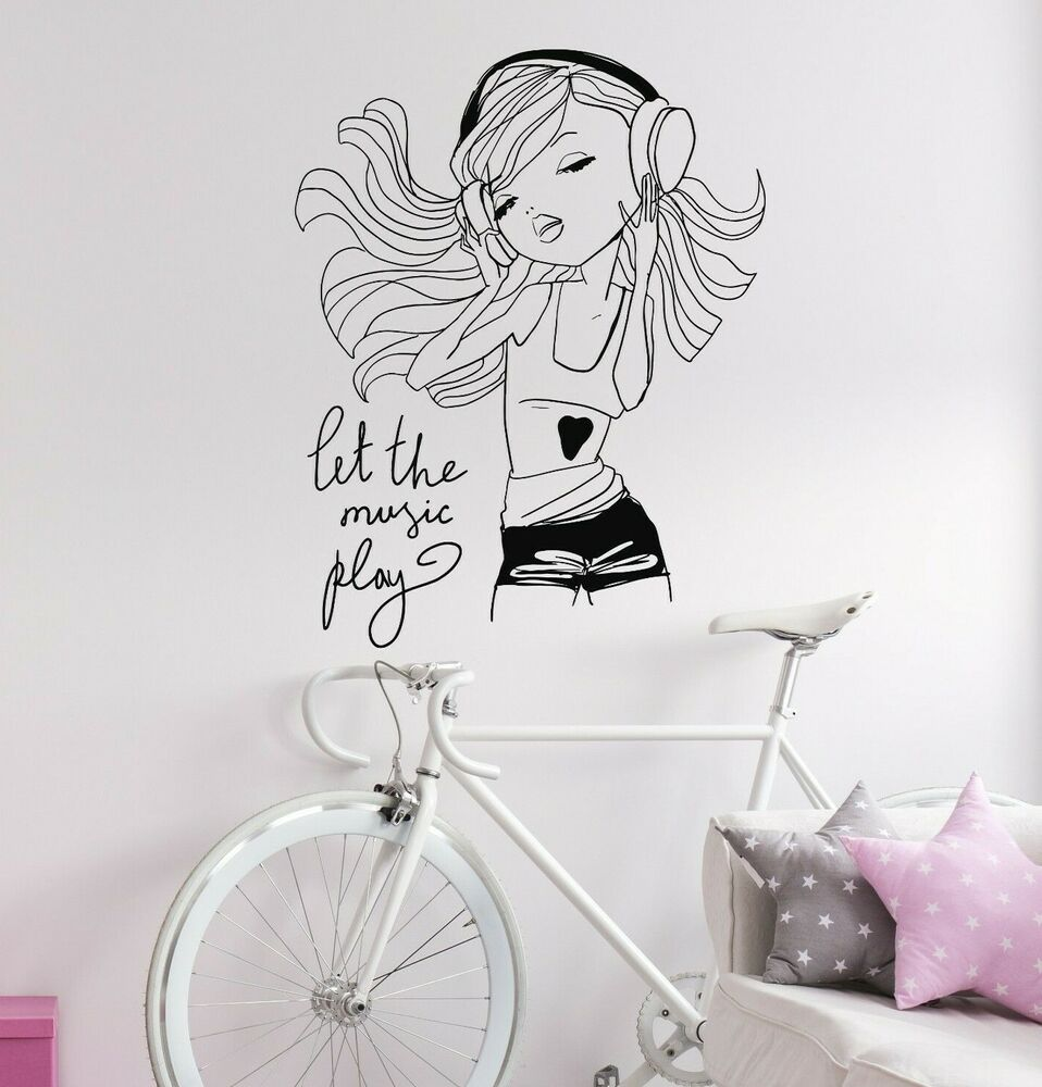 teen girl music headphones room decoration wall stickers vinyl decal ig3121 ebay. Black Bedroom Furniture Sets. Home Design Ideas