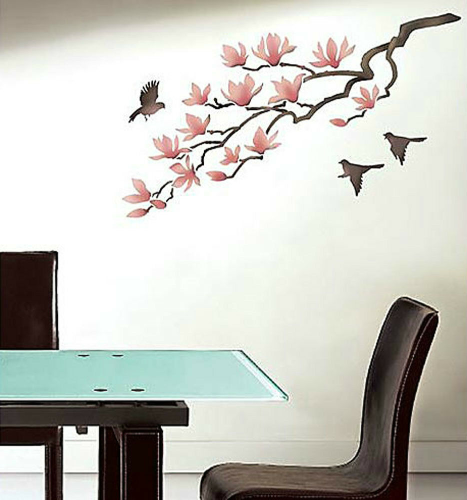 magnolia wall stencil reusable stencils for diy decor better than wall decal ebay. Black Bedroom Furniture Sets. Home Design Ideas