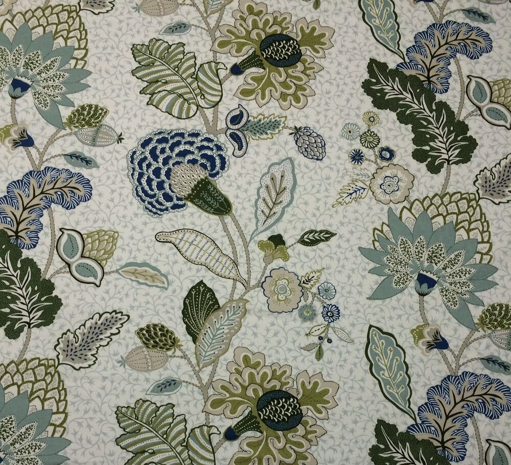Ballard designs addison blue jacobean floral multiuse for By the yard fabric