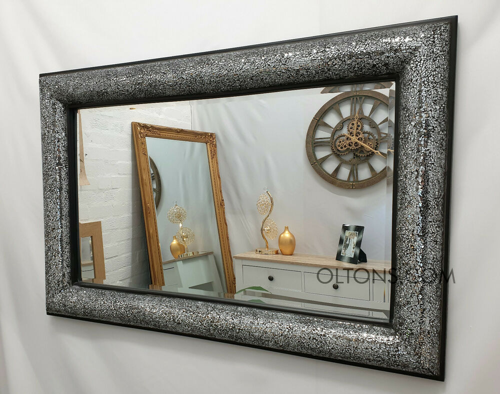 Crackle bow design wall mirror black frame mosaic glass for Mirror 120 x 80