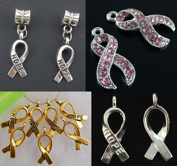 Silver Gold Crystal Pink Crystal Breast Cancer Hope Ribbon