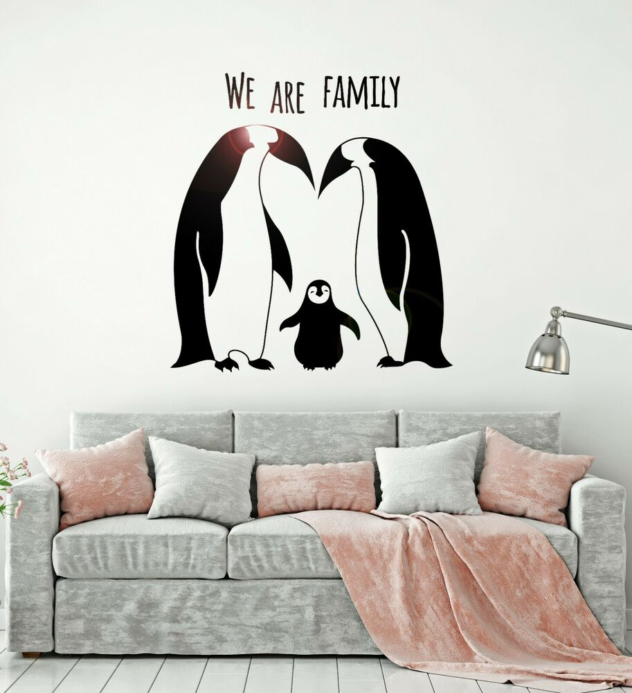 Penguins Animal Family Cute Room Decor Wall Stickers Vinyl