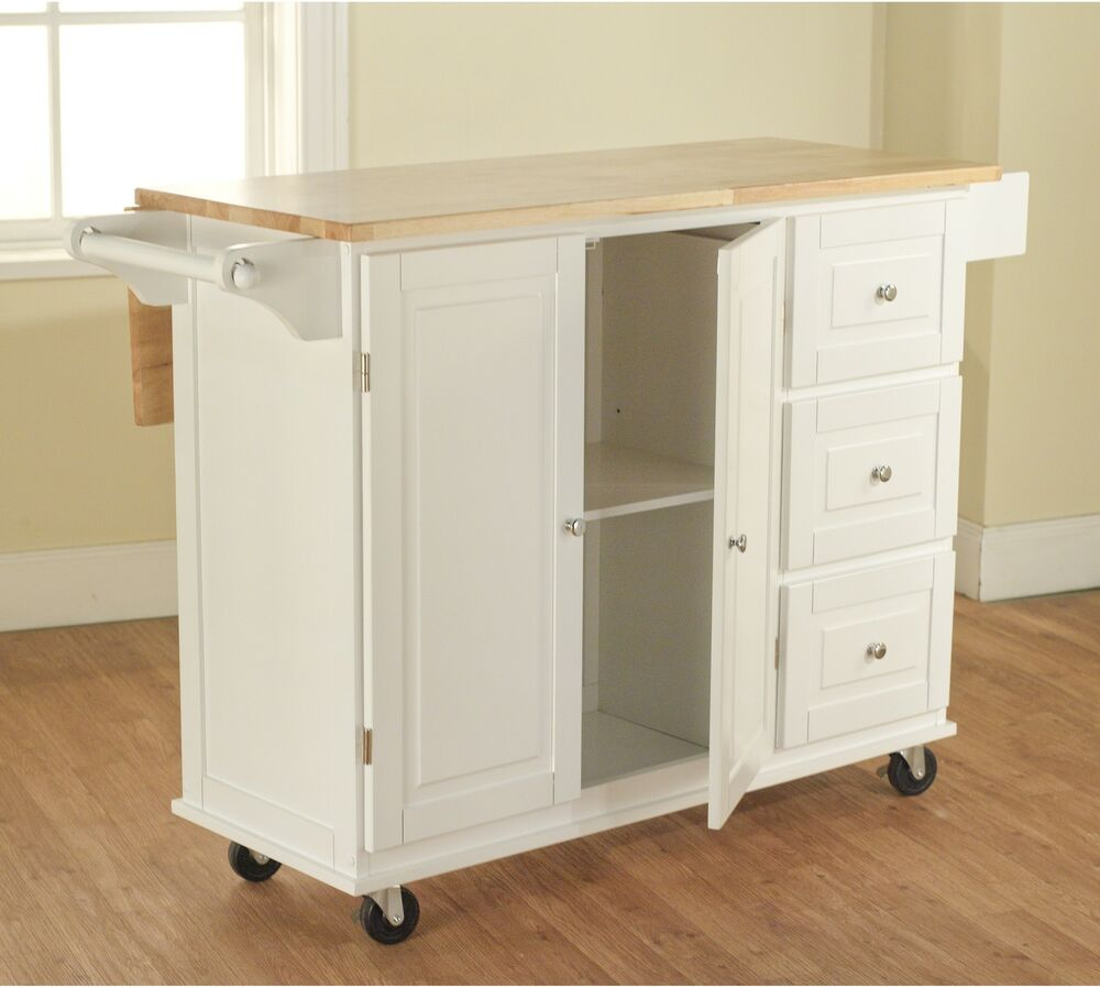 white kitchen cart w storage wood drop leaf island serving table cabinet utility ebay. Black Bedroom Furniture Sets. Home Design Ideas
