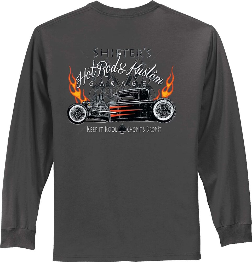 Cool hot rod t shirt rat rod retro flames mens long sleeve for Big and tall cool shirts