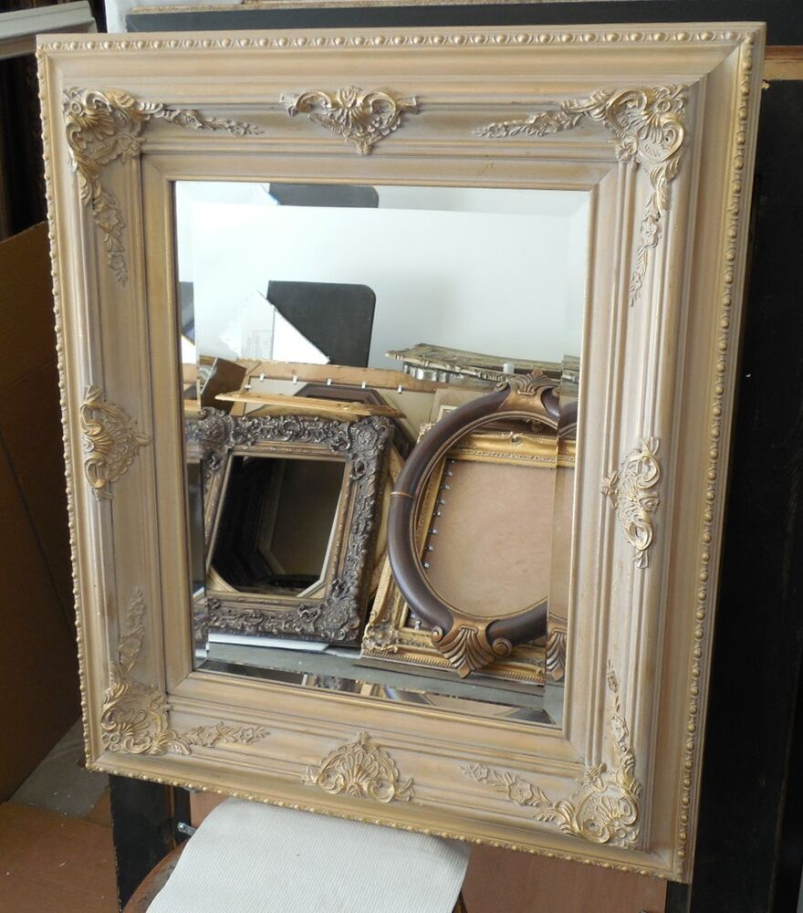 Large solid wood 26x30 rectangle beveled framed wall for Large framed mirrors