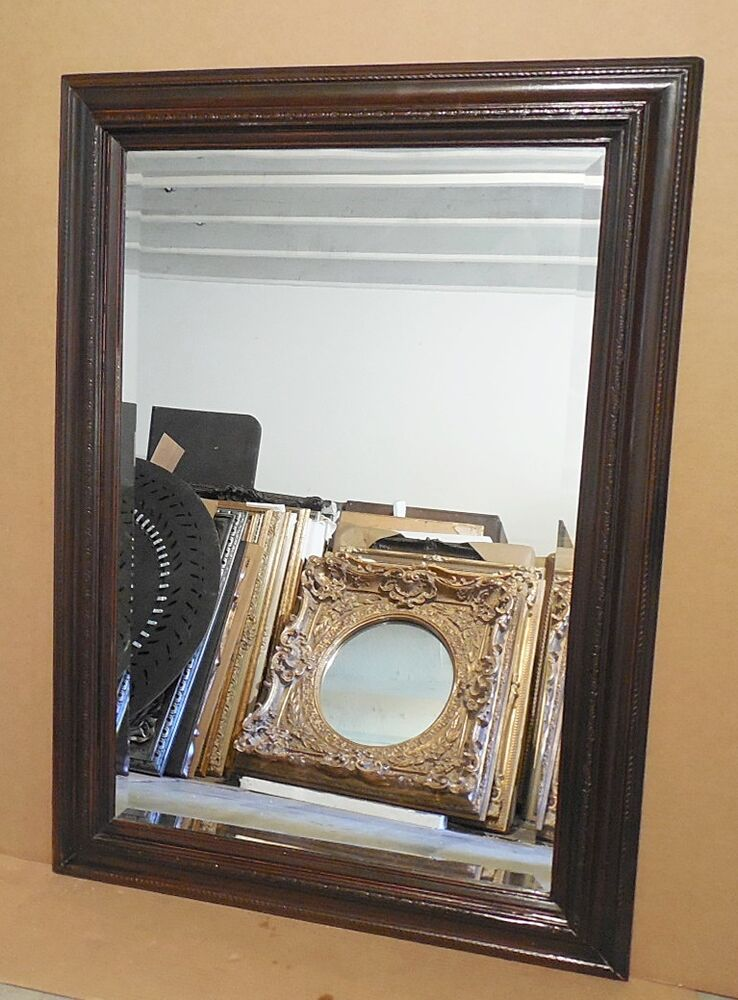 Large solid wood 31x43 rectangle beveled framed wall for Large wall mirror wood frame
