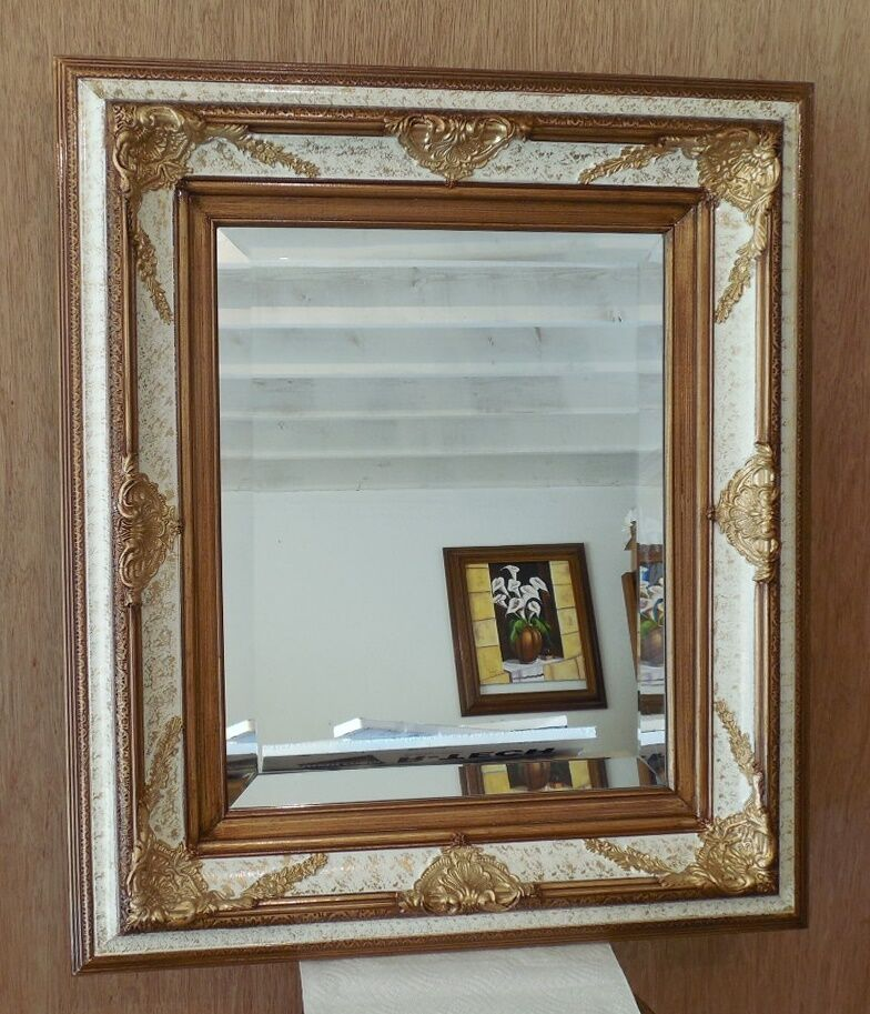 Large solid wood 26x30 rectangle beveled framed wall for Big framed mirror