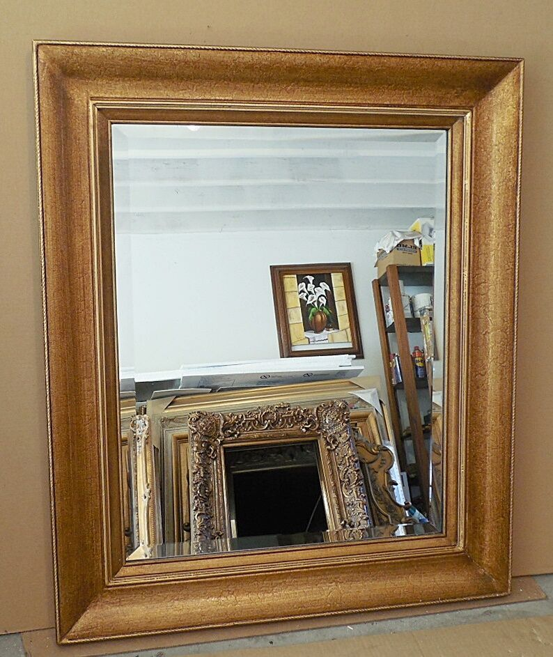 Large solid wood 33x39 rectangle beveled framed wall for Large wall mirror wood frame