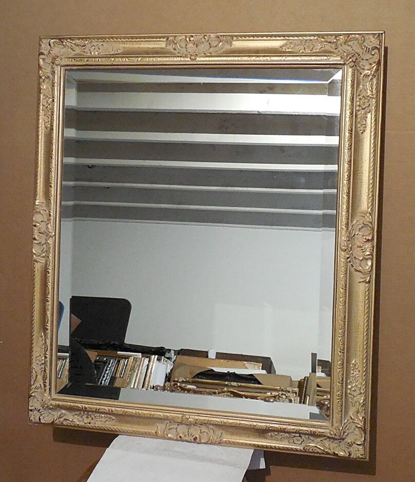 Large solid wood 28x32 rectangle beveled framed wall for Large framed wall mirrors