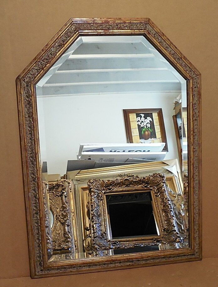 Large solid wood 29x40 arched beveled framed wall mirror for Large wall mirror wood frame