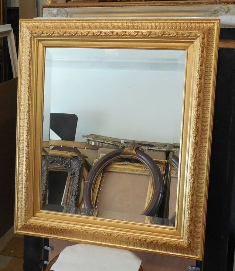 Large solid wood 28x32 rectangle beveled framed wall for Large wall mirror wood frame