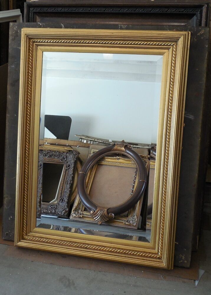 Large solid wood 33x45 rectangle beveled framed wall for Wood framed mirrors