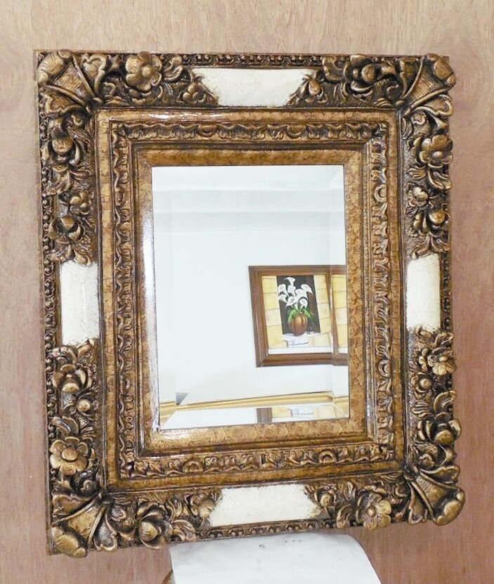 Large ornate wood resin 25x29 rectangle beveled framed for Large wall mirror wood frame