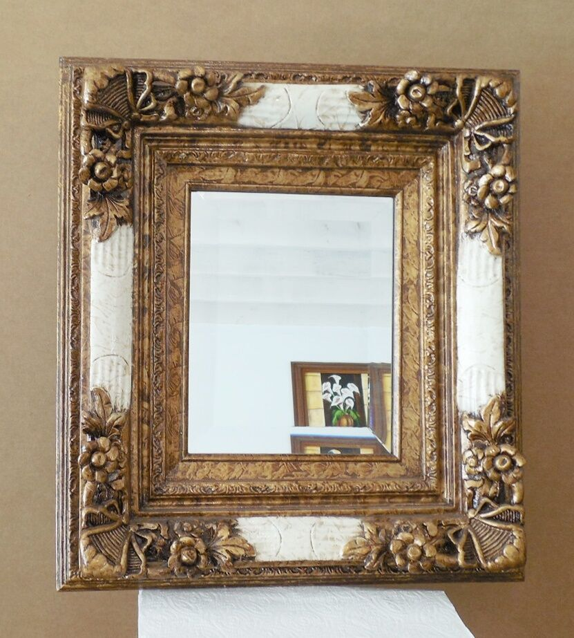 Large solid wood 17x19 rectangle beveled framed wall for Large wall mirror wood frame