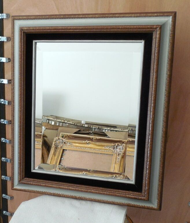 Large solid wood 16x19 rectangle beveled framed wall for Large wall mirror wood frame