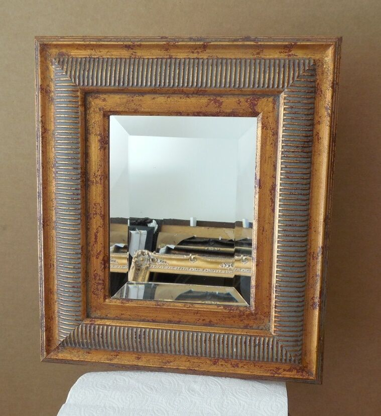 Large solid wood 15x17 rectangle beveled framed wall for Large wall mirror wood frame