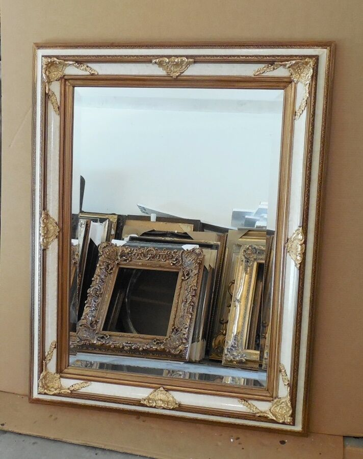Large solid wood 35x45 rectangle beveled framed wall for Large wall mirror wood frame