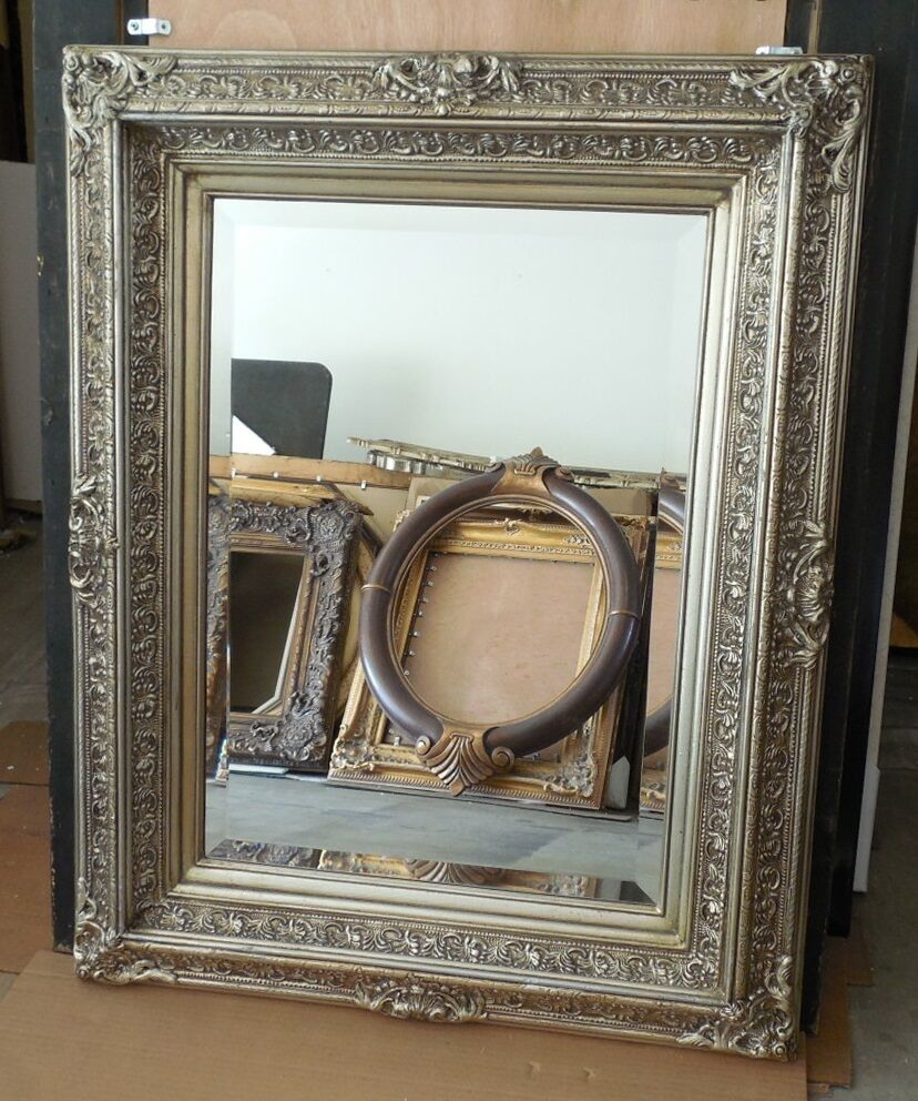 Large solid wood 31x39 rectangle beveled framed wall for Large wall mirror wood frame