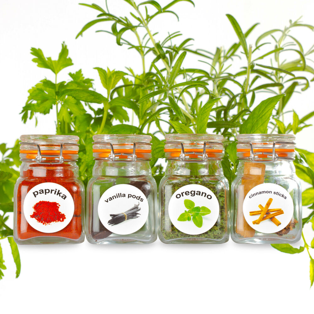 50 washable plastic herb and spice jar labels round spice. Black Bedroom Furniture Sets. Home Design Ideas