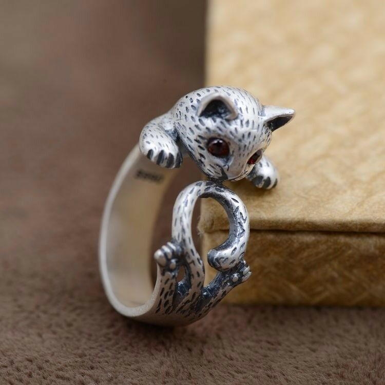 lovely cat 990 sterling silver thailand ring rings jewelry