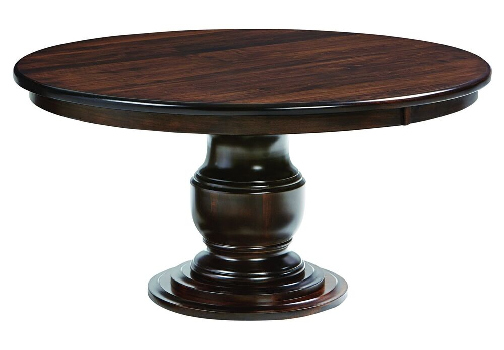 Amish ziglar round pedestal dining table solid wood for Solid wood round tables dining