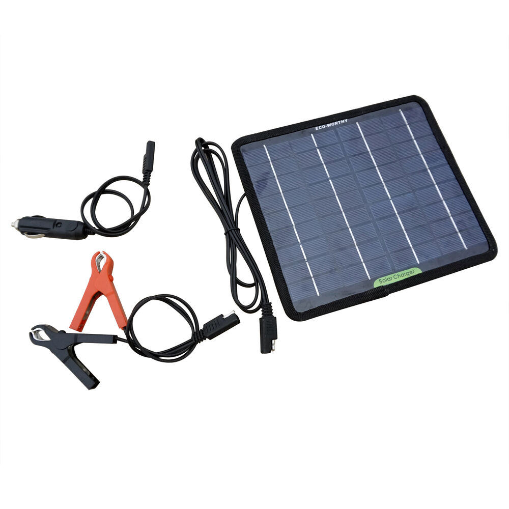 18V 5W Portable Solar Panel Kit for RV Car Motorcycle Battery Trickle ...