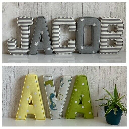 Fabric letters wall art handmade nursery name for Fabric covered letters for nursery