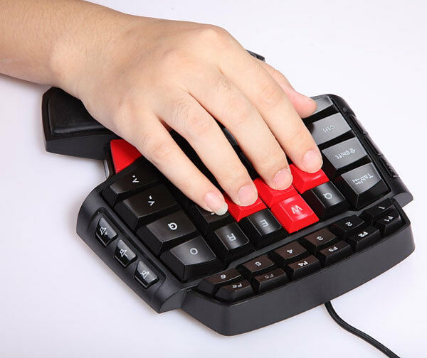 blue led backlit one handed gaming keyboard for pc computer cf lol dota 2 ebay. Black Bedroom Furniture Sets. Home Design Ideas