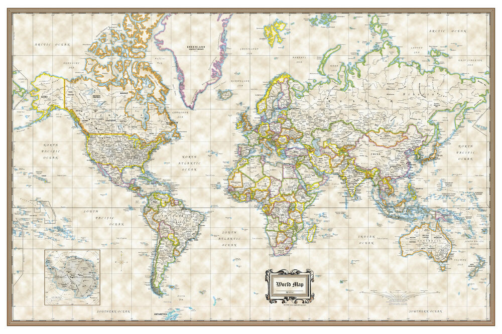 World classic executive wall map poster 36 x24 rolled for Executive world map wall mural