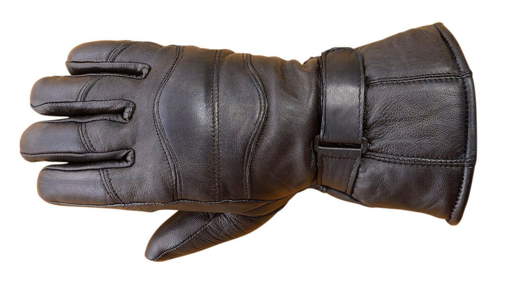 Mens Sheep Leather Winter Motorcycle Biker Riding Gloves