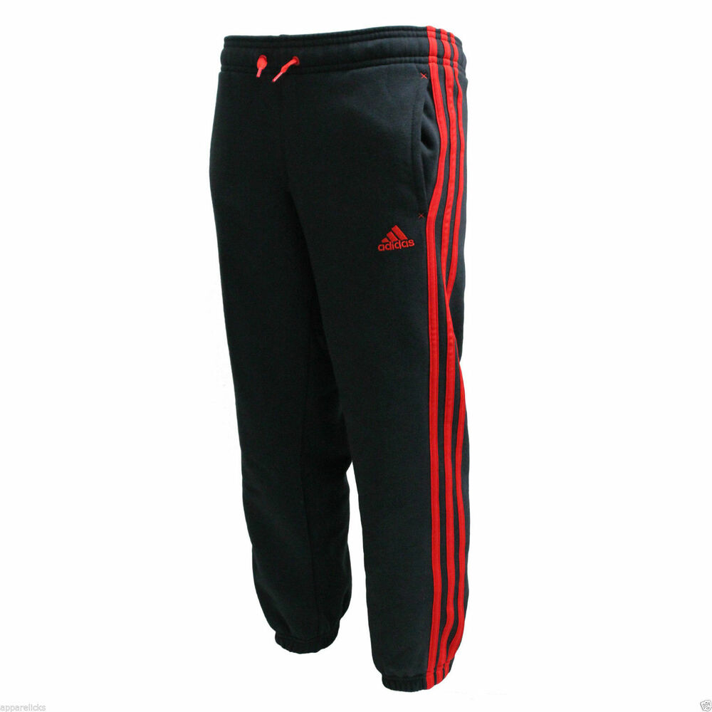 Adidas Kids Classic 3 Stripe Joggers Boys Pants Fleece