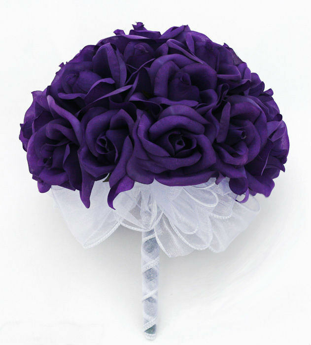 Lavender Rose Gypsophila Bridal Bouquet: Purple Silk Rose Hand Tie (24 Roses)