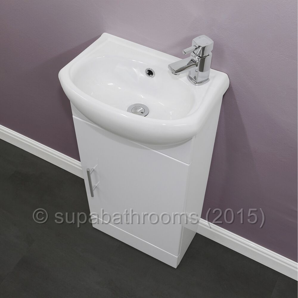 Bathroom Cloakroom Compact Gloss White Vanity Unit Cabinet ...