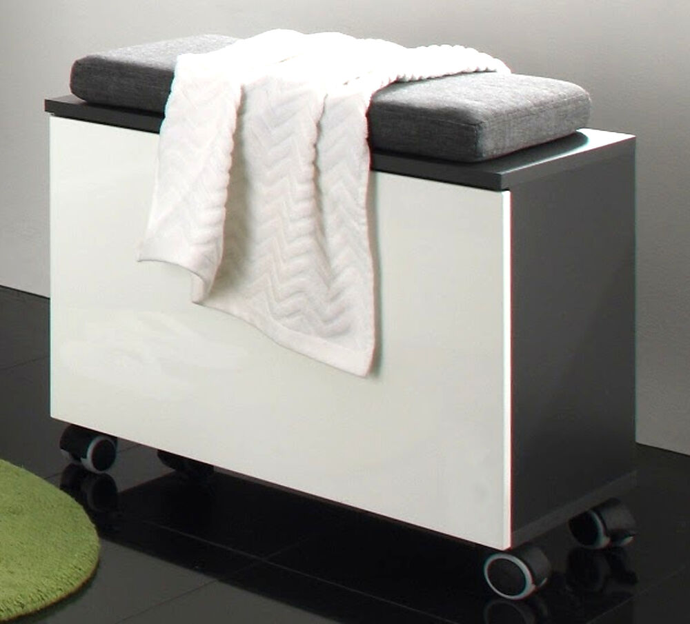 bad sitzw rfel badezimmer hocker sitzcontainer weiss hochglanz grau beach kissen ebay. Black Bedroom Furniture Sets. Home Design Ideas