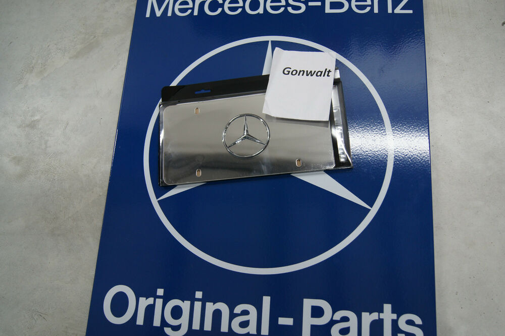 Mercedes benz genuine front license plate polished ss star for Mercedes benz license plate logo