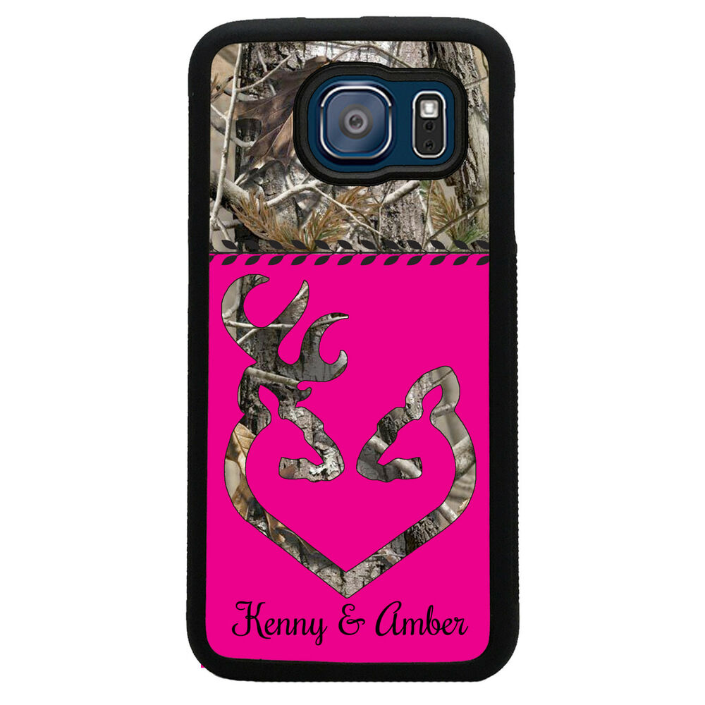 PERSONZALIZED SAMSUNG GALAXY S6 S5 S4 CASE RUBBER COVER HOT PINK CAMO ...