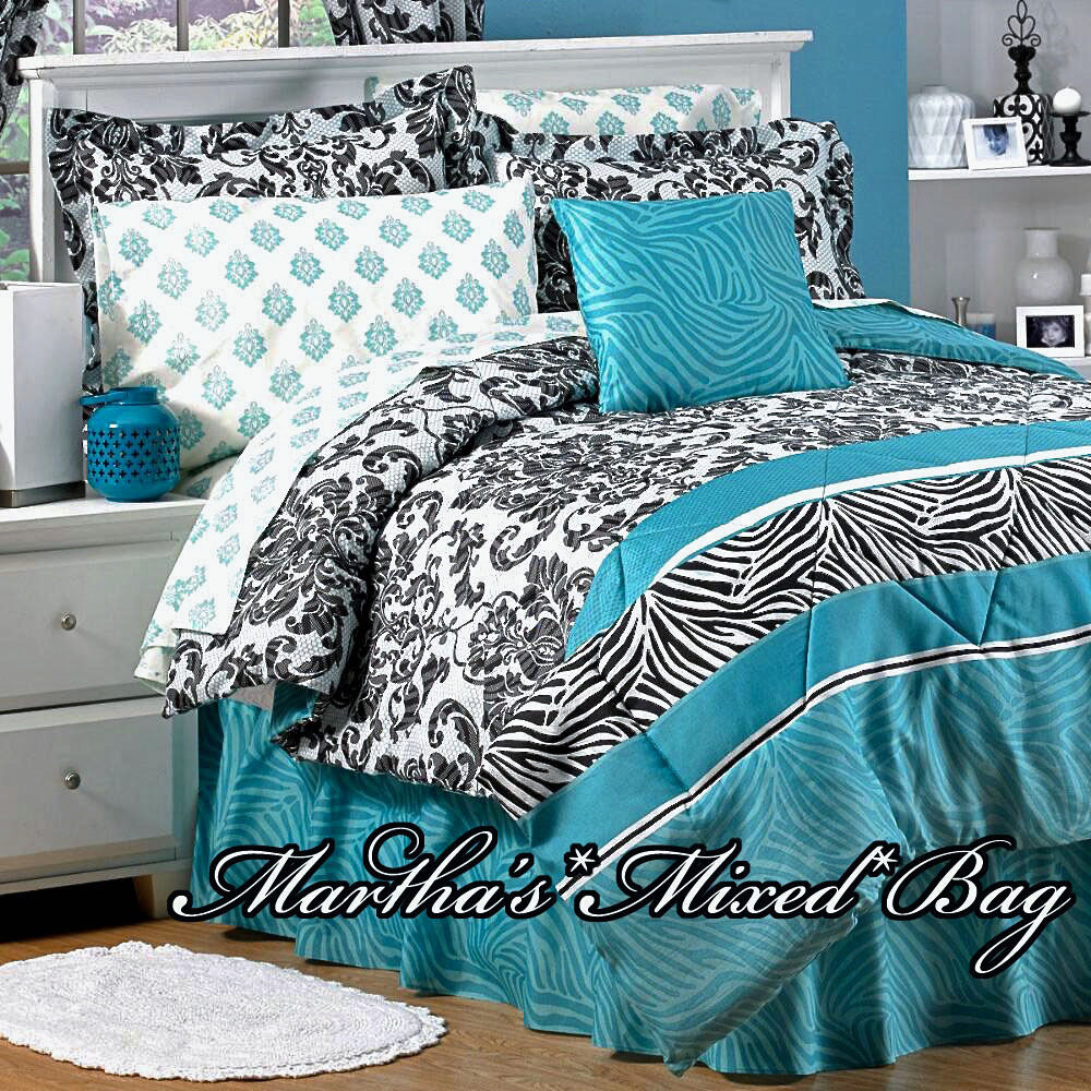 Teal Zebra Stripe Black Parisian French Damask Bedding 6