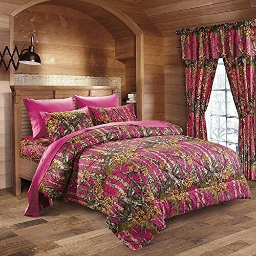 7 pc pink fuchsia camo comforter and sheet set queen 12859 | s l1000