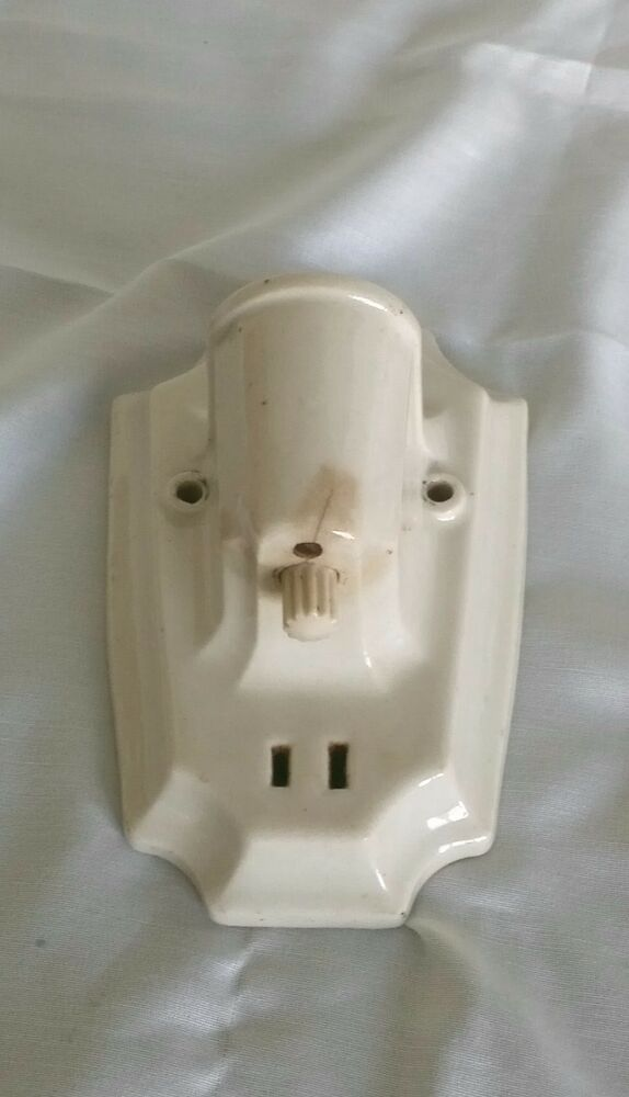 Wall Sconce With Switch And Outlet : Antique Porcelain Wall Light Socket Ceramic White Sconce w Outlet Paulding eBay