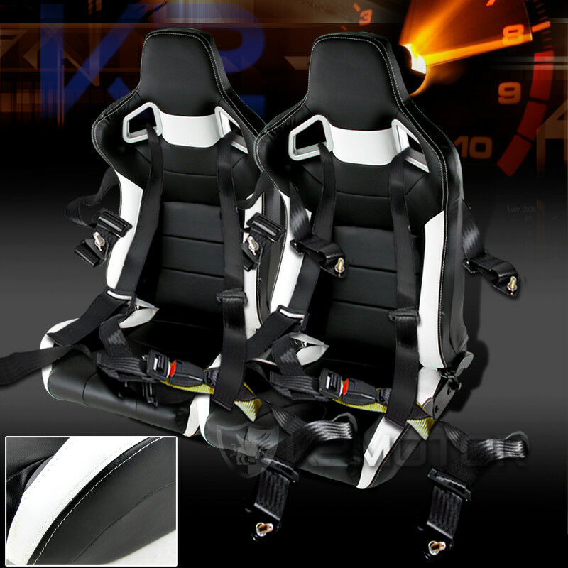 2pc white black pvc leather jdm racing seats 4 point harness racing seat belts ebay. Black Bedroom Furniture Sets. Home Design Ideas