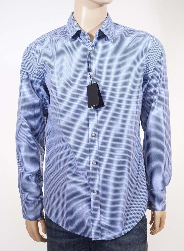 Hugo boss ronny men 39 s blue check spread collar dress shirt for Men s spread collar shirts